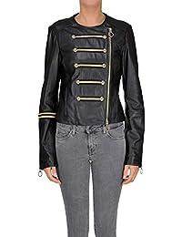 2d62004466e Pinko Women's MCGLCSL000005024E Black Leather Outerwear Jacket