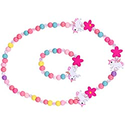 Amosfun Colgante Unicornio niñas Collar Pulsera Set Niños Unicornio Joyas de Madera Kit Princesa Beads Regalo para la Fiesta de Cumpleaños Pretender