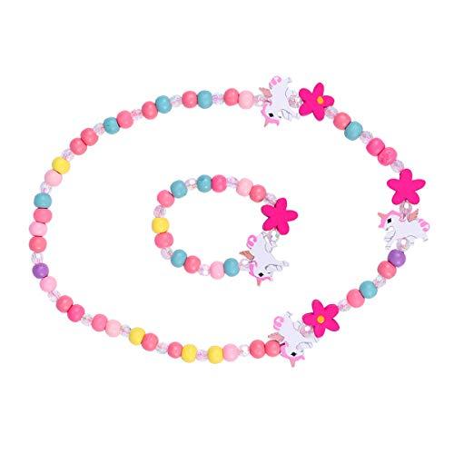 Amosfun Holz Kinder Schmuck Set Einhorn Perlen Halskette und Armband Geschenk für Mädchen Geburtstag Party Dress Up Kostüm Zubehör (Wie Up Ein Mädchen Kleines Dress)