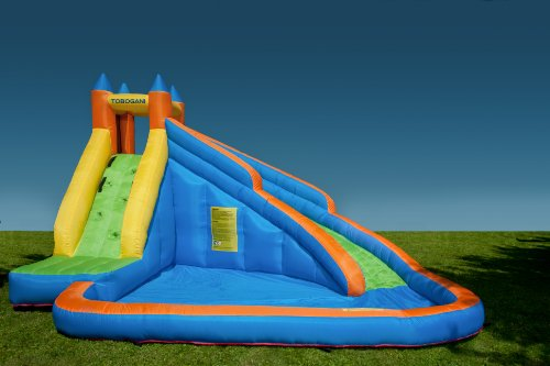 Tobogani - Water Park Paddling Pool with Inflatable Slide 12 m² (includes static blower)