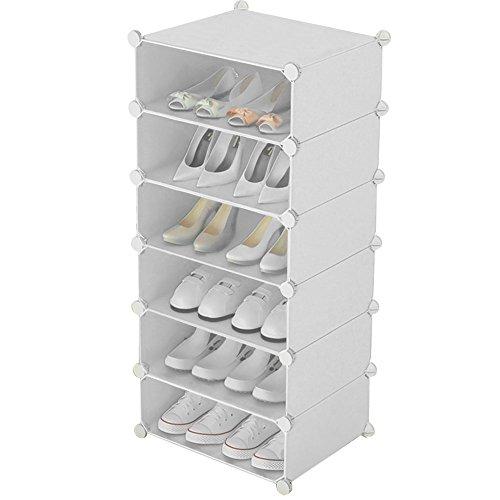 Inxact Étagère à chaussure solution de stockage bricolage 6 tier, blanc