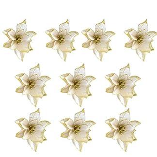 BESTOYARD 10 piezas de flores de Navidad brillo artificial boda árbol de Navidad guirnaldas decoración ornamento (oro)