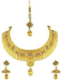 Asmitta Astonishing Jalebi Shape Gold Plated Choker Style Necklace Set With Mangtikka For Women