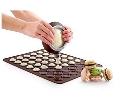 Ericoy 48-Kapazität Silikon Macarons Backmatte Macarons Backset Macaron Backen Form Set mit Düsen DIY backen Werkzeug Satz (Kaffee) 39*29 cm 2PC