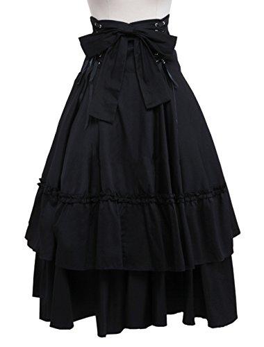 antaina Negra Volantes Bowknot Retro Victoriana Gotica Punk Lolita Long Plisada Falda,XL