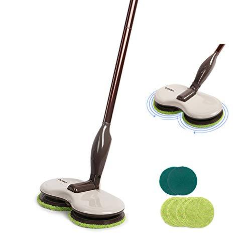 VANiGO Elektrischer Mopp Wischmop Bodenwischer Kabellos mit Dual Drehenden Reinigungsköpfen Drehgelenken, Verstellbare Grifflänge, auswechselbar Mopptücher, 90 min Arbeitszeit (kein Wassertank)