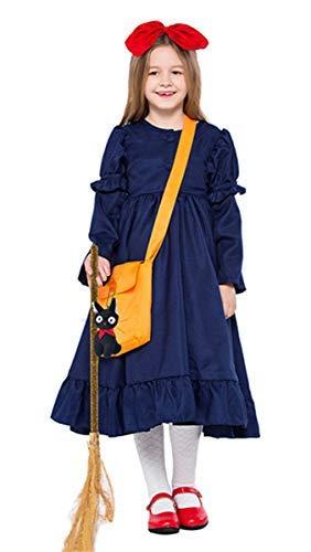 Kiki Kostüm Hexe - Fanessy. Kinder Mädchen Hexenkostüm für Damen Fasching Karneval Halloween Kikis COS Kleidung Hexen Kostüm Kleid mit Besen Erwachsene Kinder Cosplay Outfit Set Eltern Kind Kostüm Party Cosplay