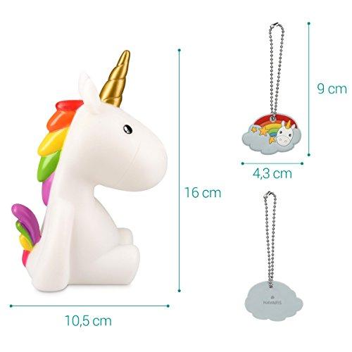 Navaris luce notturna LED unicorno – lampada per bambini lucina da notte per camera bambini con led multicolore cambio colori arcobaleno – bianca - 3