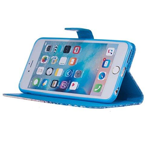 Coque iPhone 6s Plus, Étui en cuir pour iPhone 6 Plus, Lifetrut [Printed Patterns] Colorful Design Flip Portefeuille Case Couverture avec sangles pour iPhone 6s Plus/6 Plus [Vertige] E206-Sables