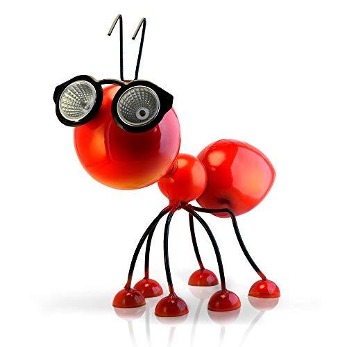 Adorno Solar para Jardin - Figura de Hormiga Roja de Metal con...