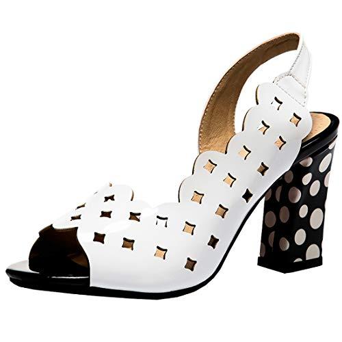 YE Damen Cut Out Sandalen High Heels Blockabsatz Sandaletten Chunky Heels Sommer Polka Dots Schuhe(Weiß,37) Peep-toe Polka Dot-slingback