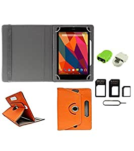 Gadget Decor (TM) PU Leather Rotating 360° Flip Case Cover With Stand For Tescom Bolt 3 + Free Robot USB On-The-Go OTG Reader + Free Sim Adapter Kit - Orange