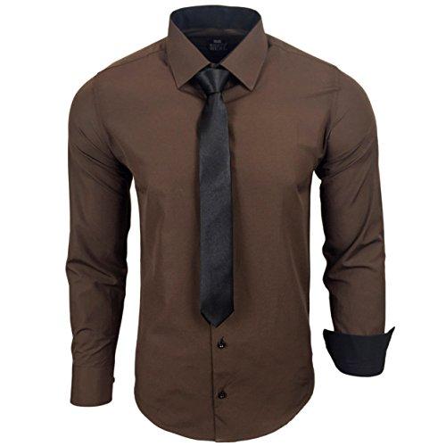 Rusty Neal R-44-KR Herren Kontrast Hemd Business Hemden mit Krawatte Hochzeit Freizeit Fit, Größe:L, Farbe:Braun