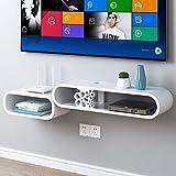 Wandregal Schwimmregal Wand-TV-Schrank WiFi-Router Set Top Box Ablage Regal Bücherregal Multimedia Aufbewahrungsbox Weiß (Farbe : A)