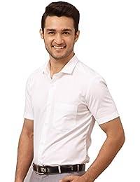 Crazy Prints Premium Cotton Half Sleeves White Formal Shirt For Men