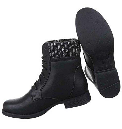 Damen Stiefeletten Schuhe Schnürer Boots Schwarz Schwarz