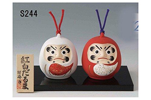 Miniatur Lucky Daruma Glocken (Japanische Good Luck Charm (englischsprachig), Rot/Weiß