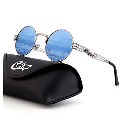 CGID Retro Sonnenbrille im Steampunk Stil, runder Metallrahmen, polarisiert, für Frauen und Männer, E72, B4 Silber Blau, Einheitsgröße