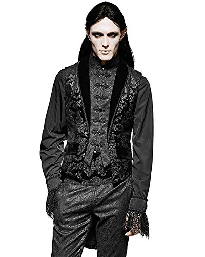 Punk rave uomo gilet frac nero damascato gotico steampunk regency - nero, nero, xl