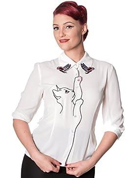 Banned Camisa Días de Baile con Nieve Pájaro Gato Mariposas de Estilo Retro Vintage de Los Años 50's