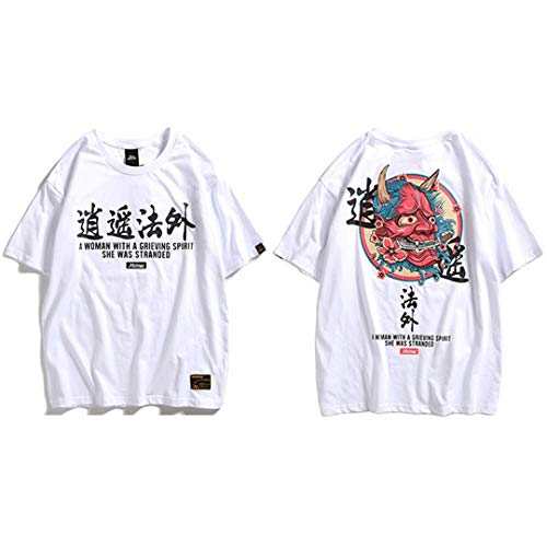 Hip Hop T-Shirt Männer Ghost Chinese Charater Druck Harajuku Streetwear Frühling Sommer Kurzarm Tops Tees White L -