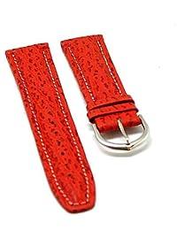 orig. Fortis Reloj de pulsera piel cocodrilo rojo con costura blanca 20mm neu8512
