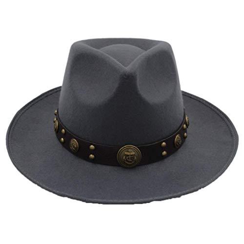 GOUNURE Frauen Wollfilz breiter Krempe Fedora Hats Classic Vintage Trilby Hut Jazz Cap Church Hat mit Steampunk Gürtel -