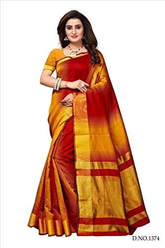 Fabwomen Sarees Zari Work MULTI COLOURED Kanjeevaram Silk Fashion Party Wear Women's...