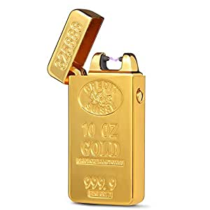 USB Gold BRICK Electric Rechargeable Single Arc Lighter Windproof Flameless Electronic Pulse E-Lighter Igniter No Gas Torch Lighter Electronic Cigarette Lighter for Souvenir Gift