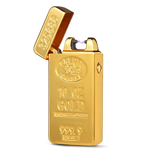 usb-gold-brick-electric-rechargeable-single-arc-lighter-windproof-flameless-electronic-pulse-e-light
