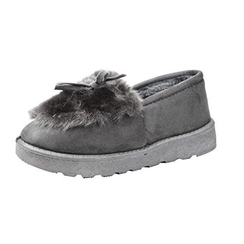 Stiefel Damen Clode® Frauen flache Knöchel Pelz gezeichnete Winter warme Schnee Schuhe Faule Schuhe Grau