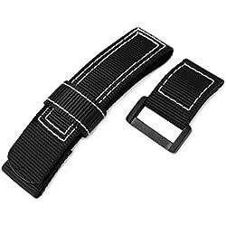 24mm MiLTAT Black Nylon Velcro Fastener Watch Strap, White Stitching, PVD Black Buckle