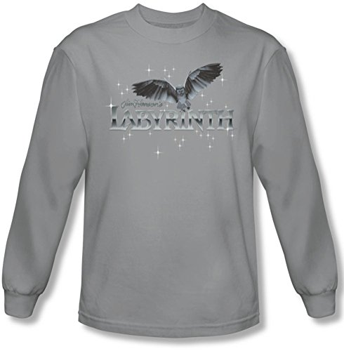 Labyrinth - Männer Owl Logo Langarm-Shirt in Silber Silver