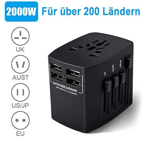 HANPURE Reiseadapter, Universal Reisestecker, 2000W Stromadapter mit 4 USB AC Steckdose für Deutschland, USA, UK, Thailand, Kanada, Japan über 200 Ländern, Schwarz