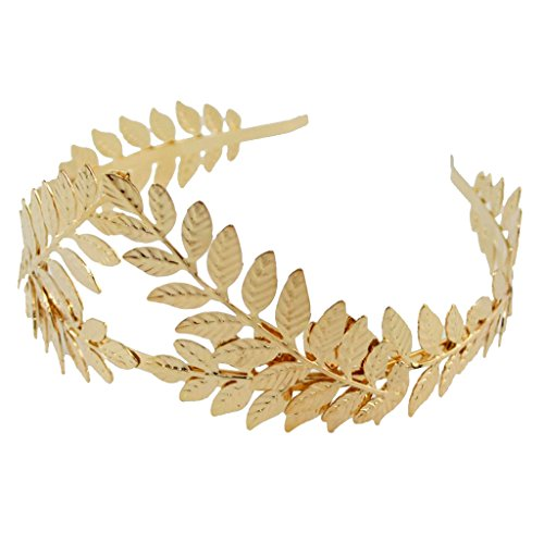 Baoblaze Blatt Haarreif Vintage Boho Braut Haar Krone Stirnband Tiara Kopfschmuck ür Hochzeit Mittelalter Proms Party Mottoparty - Gold 1