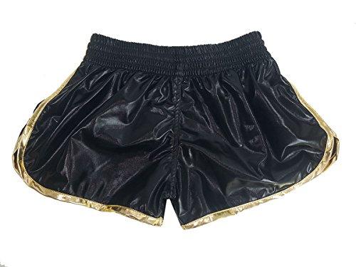 Kanong Damen Muay Thai Kick Boxing Boxen Hosen Shorts : KNSWO-401-Black Size M