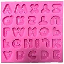 BESTONZON Botón Letras Molde Molde de silicona Herramientas Fondant Molde Decoración de Pastel de Chocolate Gumpaste