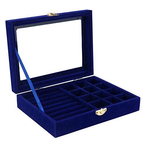 SHINGONE Samt Schmuckständer Aufbewahrungsbox mit Glasabdeckung Deckel für Ohrringe Halsketten, 15 Fächer Schmuckkasten Damen Jewelry Display Tray für Ringe - Blau Blau Tray