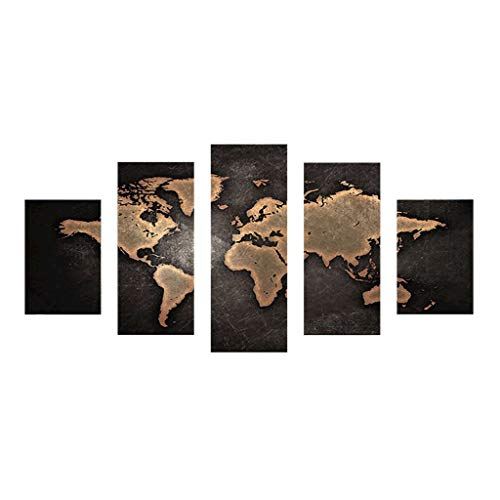 Xurgm Weltkarte 5D Full Bohrer Diamant Gemälde 5-Pictures Kombination Kits handgefertigt DIY Stickerei Naht Geschenk Arts Crafts für Haus Wand Büro Wohnzimmer Schlafzimmer Decor -