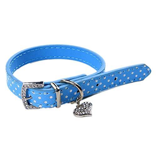 Doublehero Haustier Hundehalsband Exquisite Verstellbare Hunde Katze Kragen Leder Mode Strass Polka Dots Schnalle Halsband Welpen Hund Welpen Haustier Niedlich Klassische Halsbänder (Blau)