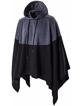 KaloryWee Abrigo Hombre Patchwork Irregular Loose Bat Sleeves Capucha Cabo Poncho,Abrigo para Hombre