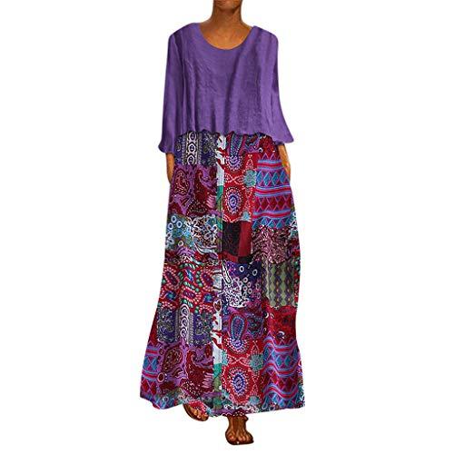 Frauen Nette Kostüm Gruppe - Frauen Zwei Stück Ethnische Print Maxikleid Damen Übergröße Patchwork Langarm O-Ausschnitt Kleider