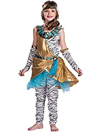 EraSpooky Disfraz Vestido Lujo de Princesa Cleo Momia para Niña