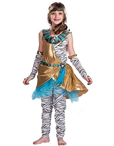 Kostüme Halloween 22 (EraSpooky Mädchen Mummy Kostüm Halloween Kostüm 4-teilig Kleid, Leggings, Handschuhe und)