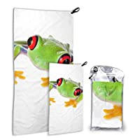 LONGYUU Beautiful Green Tree Frog 2 Pack Microfiber Beach Towel Lightweight Beach Towels For Girls Set Fast Drying Best For Gym Travel Backpacking Yoga Fitnes