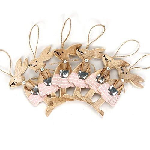 Likezz decorazione di pasqua 6 pezzi/set conigli pasquali in legno figurine amante decorazione fai da te artigianale artigianali appesi ornamenti, c