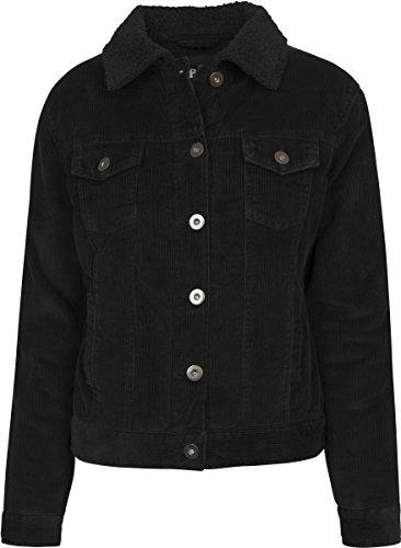 Urban Classics Damen Jacke Ladies Sherpa Cordury Jacket, Mehrfarbig (Black/Black 00825), Large (Cord-jacke Frauen)