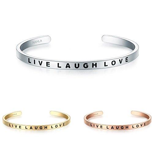 Nahla Damen-Armreif Live Laugh Love Edelstahl ca. 16-21 cm - Arm-Spange kombinierbar Damen-Schmuck mit Spruch Lebe Liebe Lache