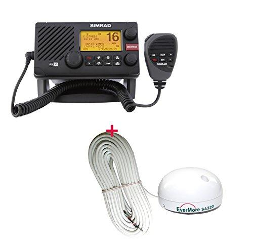 SIMRAD RS35 UKW Seefunkanlage UKW-Funkanlage mit AIS (D DSC / ATIS Funktion) und Ergonomisches Hand-Mikro mit Lautsprecher inklusive 12 Kanal Evermore SA-320 GPS Empfänger - Marine Schiff Yacht Boot Funkgerät mit Satelliten Empfänger navico RS 35 plus SA 320