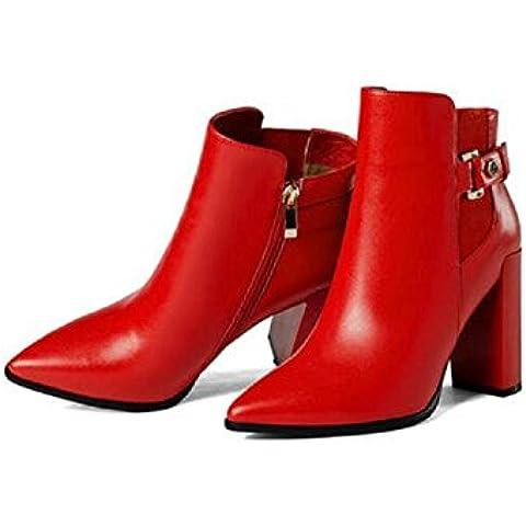 YYH Greggio documentario punta stivali alla caviglia scarpe stivali tacco alto in pelle Slim Boot donna , red , 37